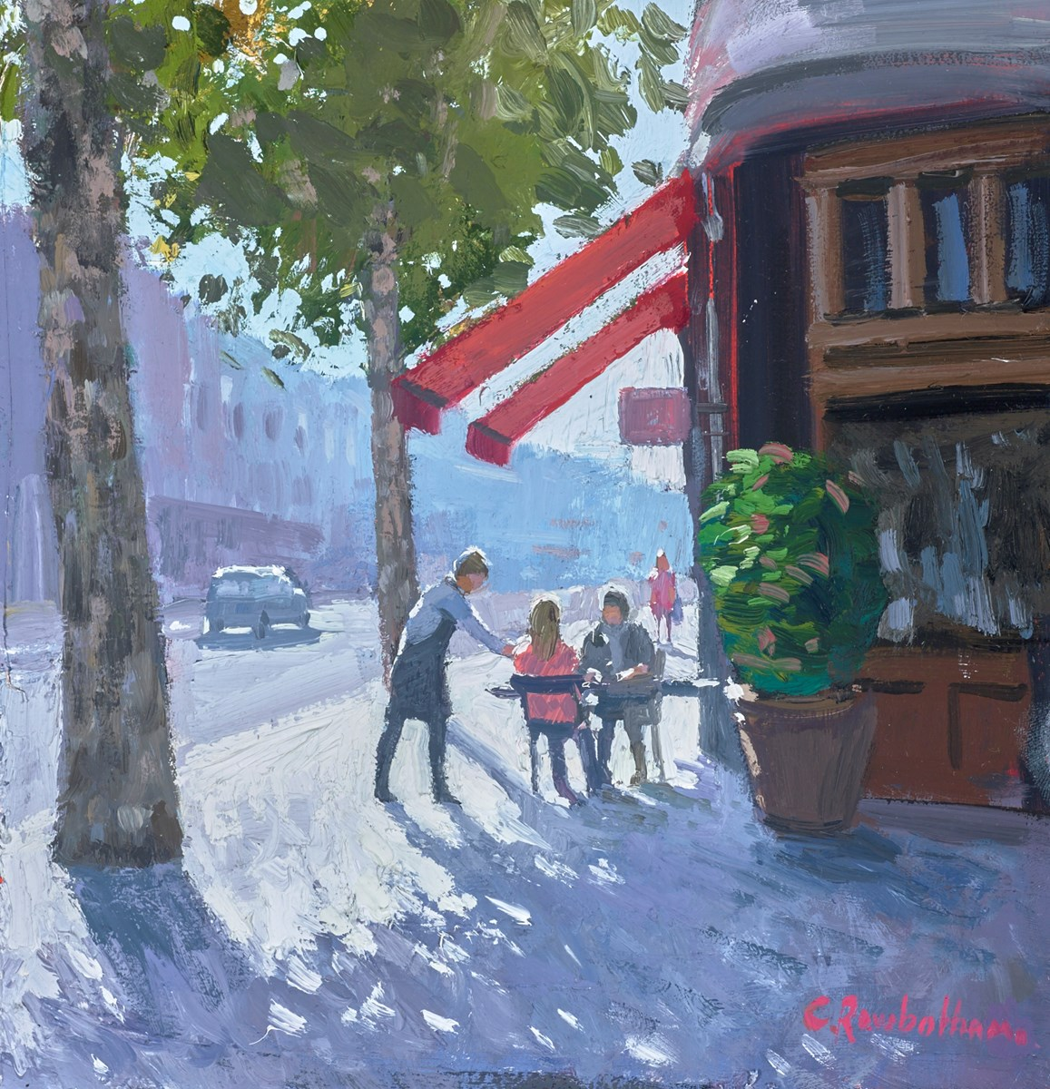 Parisian Cafe, St Germain by charles rowbotham -  sized 9x9 inches. Available from Whitewall Galleries